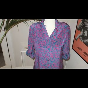 FUNKY boldly colored vintage lady's blouse